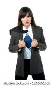 Concept: Beautiful sexy brunette girl businessman superhero, funny