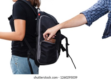 The concept of being careful during travel : Thief was stolen wallet of Asian woman tourists isolated on white background
