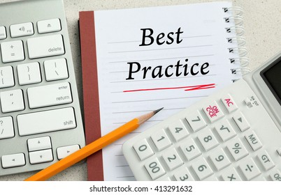 concept of best practice written on a notebook