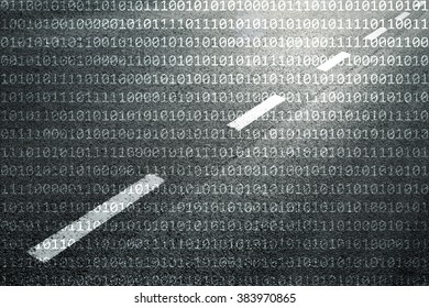 Concept binary code numbers travel information on black and white textured road background.