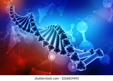 Concept of biochemistry with dna molecule isolated in scientific background, 3d rendering
