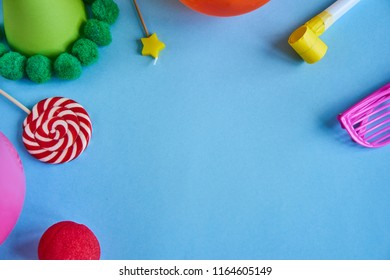 concept birthday party on blue background top view pattern
