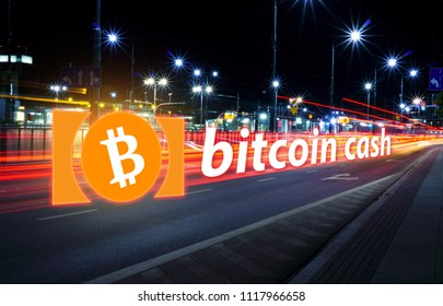 Concept of Bitcoin cash moving fast  on the road, a Cryptocurrency blockchain platform , Digital money
