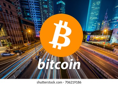 Concept of  Bitcoin,  a Cryptocurrency blockchain, Digital money
