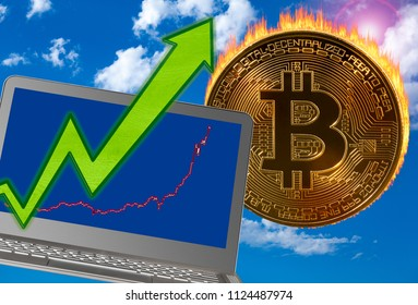 Concept of bitcoin or cyber currency price rise with laptop with growing price graph