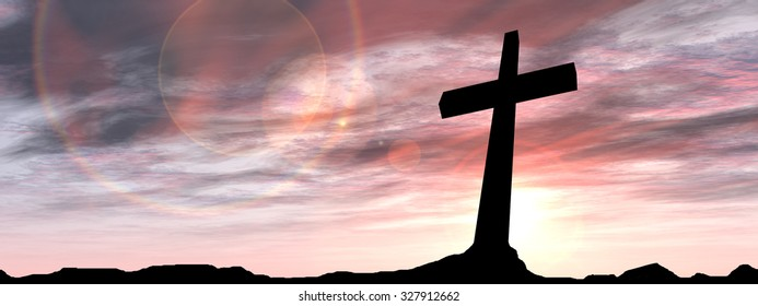 Concept black cross or religion symbol silhouette in rock landscape over a sunset or sunrise sky with sunlight clouds background banner  for God, Christ, Christianity, religious, faith, Jesus belief