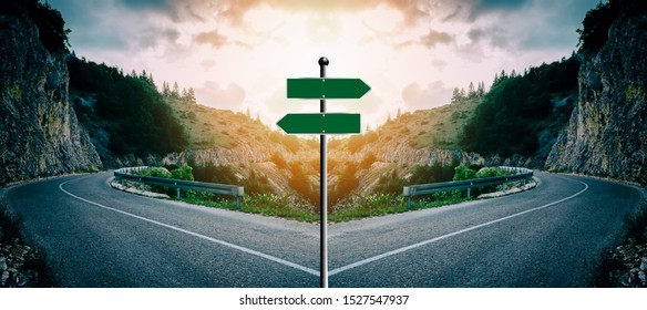 Concept of a blank cross road sign with light behind it. Intended for you to write your own text. Example: Various important choices or to illustrate the decisions you want to present
