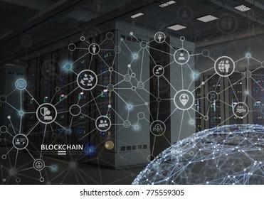 Concept of Blockchain. Cryptocurrency platform