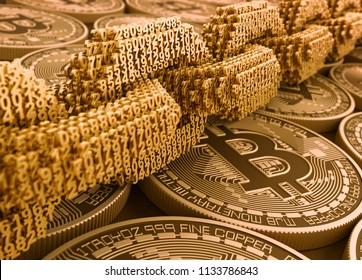 Concept Of Blockchain. Digital Chain Of Interconnected 3D Numbers On Bitcoins. 3D Illustration.