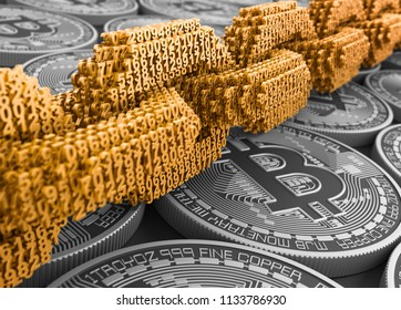 Concept Of Blockchain. Gold Digital Chain Of Interconnected 3D Numbers And Silver Bitcoins. 3D Illustration.
