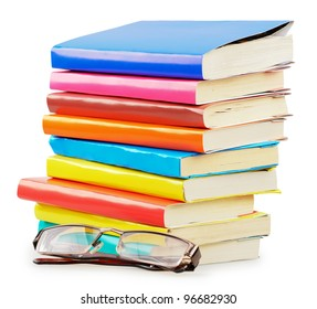 Concept of books with glasses isolated on a white background