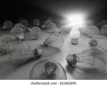 Concept of bright idea with eco lightbulb