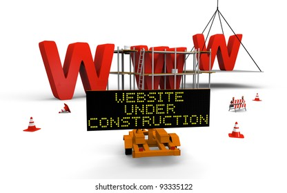 Concept of building website with letters www being built and painted, traffic sign, barriers and cones spread across