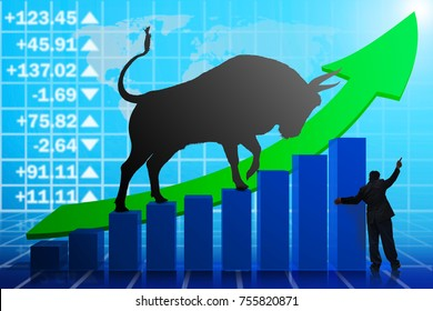 The concept of Bull market on stock market investment good situation. The Big bull young strong have muscle and sharp horn is goring stand. isolated on white background. This has clipping path.
