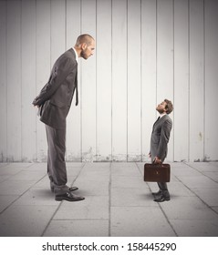 Concept of business competition with big and small businessmen