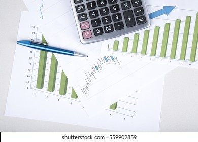 Concept. business. picture of the charts and quotes stock exchange