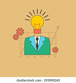 Concept of business process, worlflow. Idea as the beginning of a startup. Eureka. A man with a head lamp. For web design analytics, graphic design in flat design on colored background. Raster version