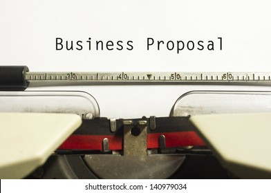 concept of business proposal, with message on typewriter.