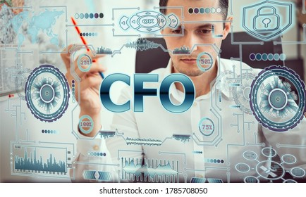 Concept business, technology, blockchain, internet and future network concept of computers. Young man works with neon hologram screen. On the screen of hologram inscription: cfo Chief financial office