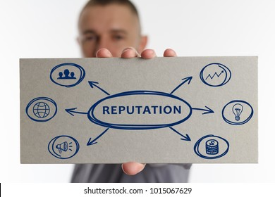 The concept of business, technology, the Internet and the network. Young businessman showing inscription: Reputation