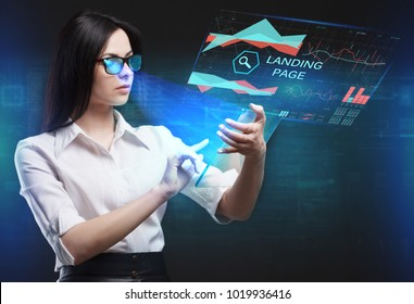 The concept of business, technology, the Internet and the network. A young entrepreneur working on a virtual screen of the future and sees the inscription: Landing page