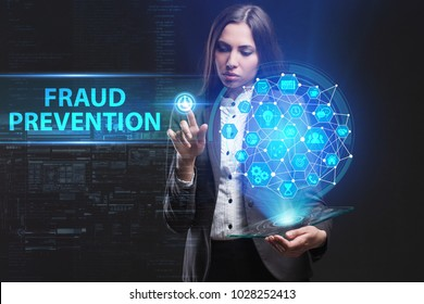 The concept of business, technology, the Internet and the network. A young entrepreneur working on a virtual screen of the future and sees the inscription: Fraud prevention