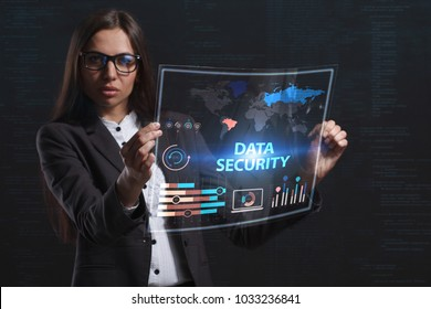 The concept of business, technology, the Internet and the network. A young entrepreneur working on a virtual screen of the future and sees the inscription: Data security