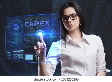 The concept of business, technology, the Internet and the network. A young entrepreneur working on a virtual screen of the future and sees the inscription: Capex