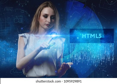 The concept of business, technology, the Internet and the network. A young entrepreneur working on a virtual screen of the future and sees the inscription: HTML5