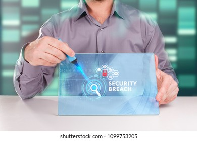 The concept of business, technology, the Internet and the network. A young entrepreneur working on a virtual screen of the future and sees the inscription: Security breach