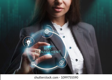 The concept of business, technology, the Internet and the network. A young entrepreneur working on a virtual screen of the future and sees the inscription: Risk management