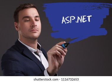 The concept of business, technology, the Internet and the network. Young businessman showing inscription: ASP.NET