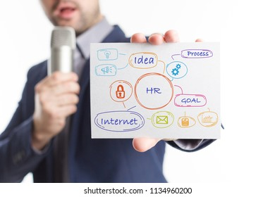 The concept of business, technology, the Internet and the network. Young businessman showing inscription: HR