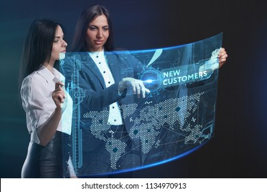 The concept of business, technology, the Internet and the network. A team of business women working on the virtual screen of the future and see the inscription: New customers