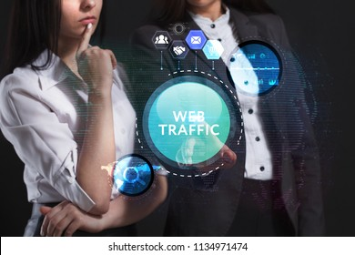 The concept of business, technology, the Internet and the network. A team of business women working on the virtual screen of the future and see the inscription: Web traffic