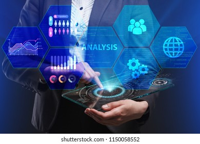 The concept of business, technology, the Internet and the network. A young entrepreneur working on a virtual screen of the future and sees the inscription: Analysis