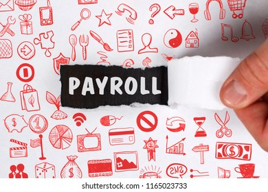 The concept of business, technology, the Internet and the network. Young businessman showing inscription: Payroll
