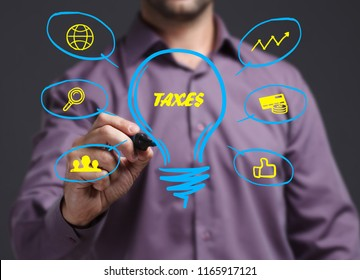 The concept of business, technology, the Internet and the network. Young businessman showing inscription: Taxes