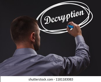 The concept of business, technology, the Internet and the network. Young businessman showing inscription: Decryption
