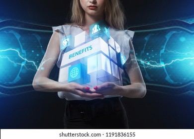 The concept of business, technology, the Internet and the network. A young entrepreneur working on a virtual screen of the future and sees the inscription: Benefits