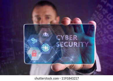The concept of business, technology, the Internet and the network. A young entrepreneur working on a virtual screen of the future and sees the inscription: Cyber security