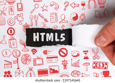 The concept of business, technology, the Internet and the network. Young businessman showing inscription: HTML5