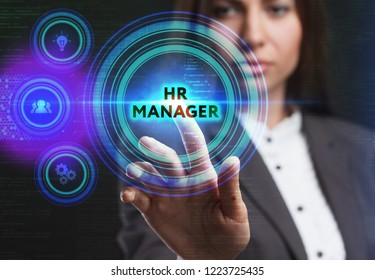 The concept of business, technology, the Internet and the network. A young entrepreneur working on a virtual screen of the future and sees the inscription: HR manager