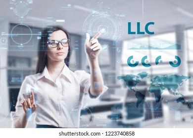 The concept of business, technology, the Internet and the network. A young entrepreneur working on a virtual screen of the future and sees the inscription: LLC