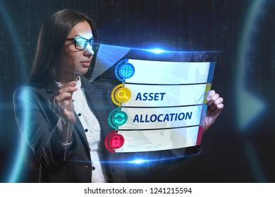 The concept of business, technology, the Internet and the network. A young entrepreneur working on a virtual screen of the future and sees the inscription: Asset allocation