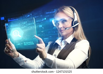 The concept of business, technology, the Internet and the network. A young entrepreneur working on a virtual screen of the future and sees the inscription: business network