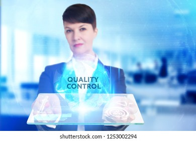 The concept of business, technology, the Internet and the network. A young entrepreneur working on a virtual screen of the future and sees the inscription: Quality control