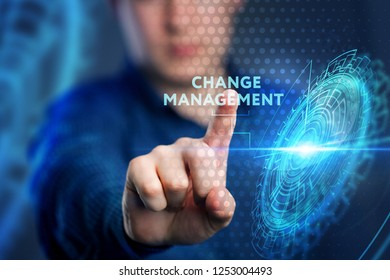 The concept of business, technology, the Internet and the network. A young entrepreneur working on a virtual screen of the future and sees the inscription: Change management