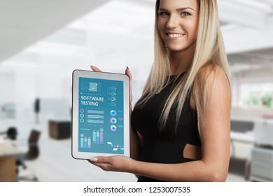 The concept of business, technology, the Internet and the network. A young entrepreneur working on a virtual screen of the future and sees the inscription: Software testing