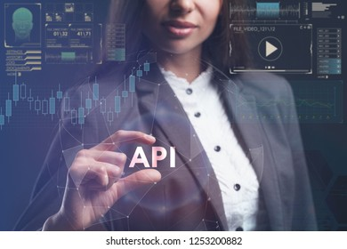 The concept of business, technology, the Internet and the network. A young entrepreneur working on a virtual screen of the future and sees the inscription: API